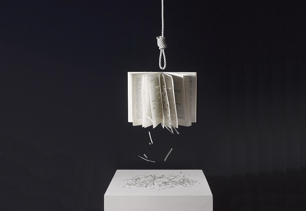 hanging book-falling words-Roland Barthes-demoted authors