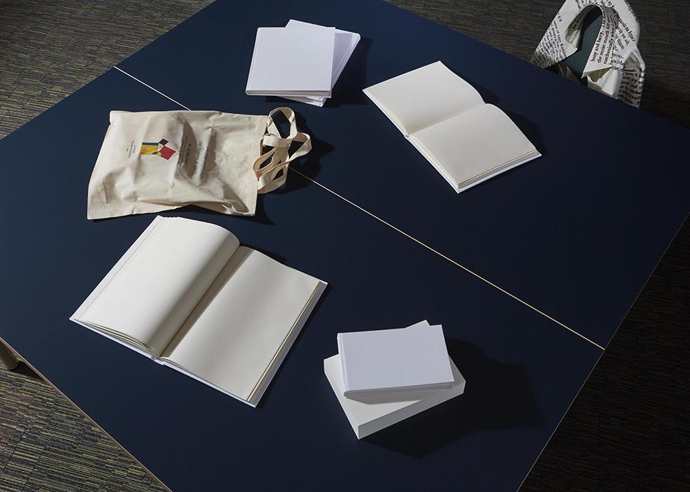 art installation-open blank books-James Joyce shirt
