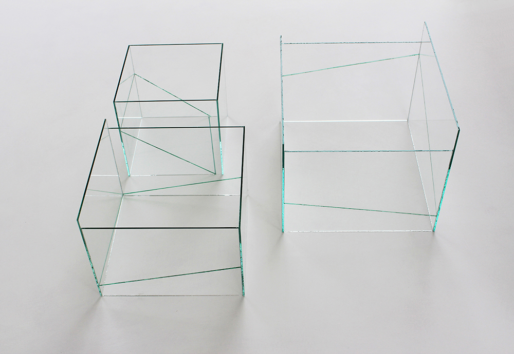 contemporary glass art-three glass cubes-painted lines-illusion of collapsing inner panels