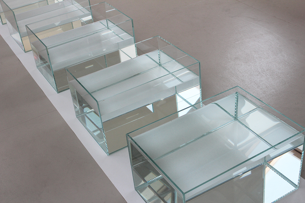 glass tanks-varying water levels-drought and flooding