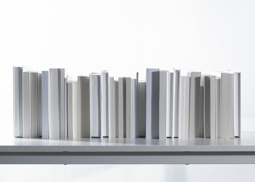 shelf of blank books-unwritten books