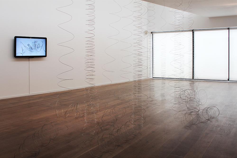 contemporary art installation-video- wire coils-wire in motion-Solstice Art Centre